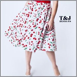 🍒T&J Designs Cherry Print Pleated Midi Skirt